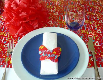 decoracion mesa cumpleaños niños servilletero mariposas