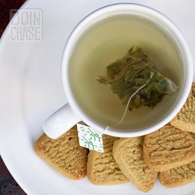 Green tea and green tea cookies from Daehan Green Tea Plantation in Boseong, South Korea.