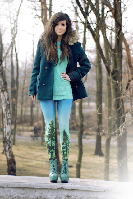 green, coat, zielony, płaszcz, zara, futerko, h&m