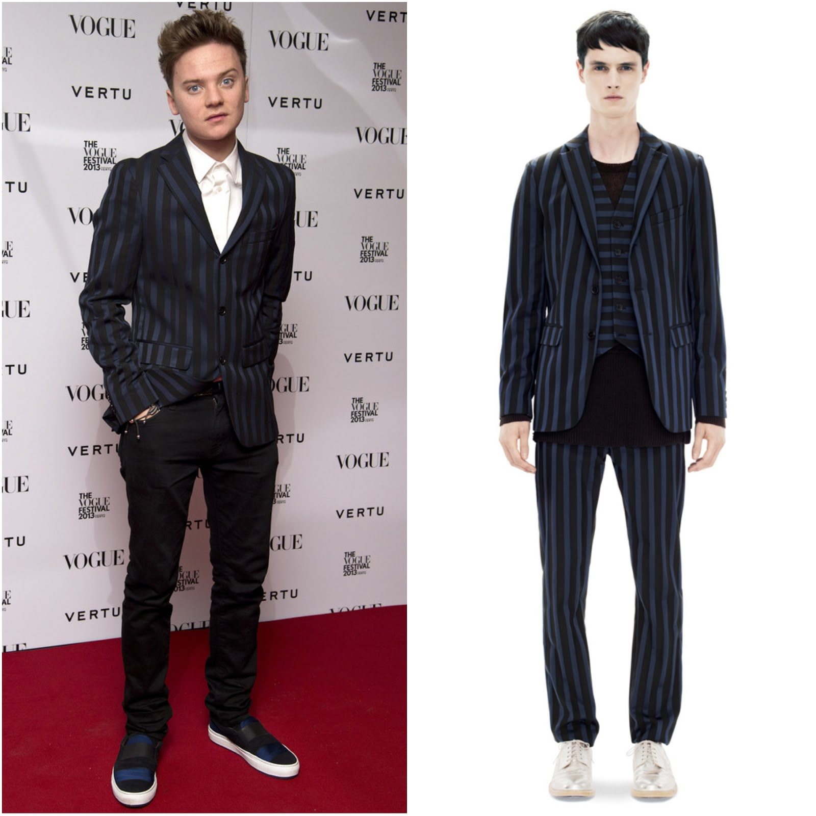 00O00 Menswear Blog: Conor Maynard in Acne Studios Drifter J Rand suit jacket and HANS STRIPED SLIP-ON SHOES - The Vogue Festival 2013, London