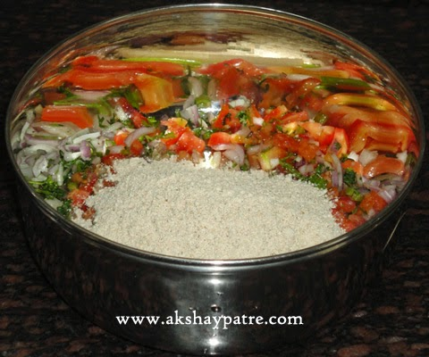 oats and veggies mixed