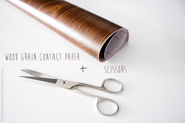 diy wood grain mouse pad - scissors and contact paper