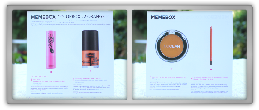 겟잇뷰티박스 by 미미박스 memebox beautybox Colorbox #2 Orange unboxing review preview box paper card info text