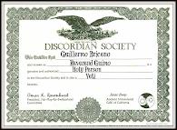 Discordian Society Membership Certificate