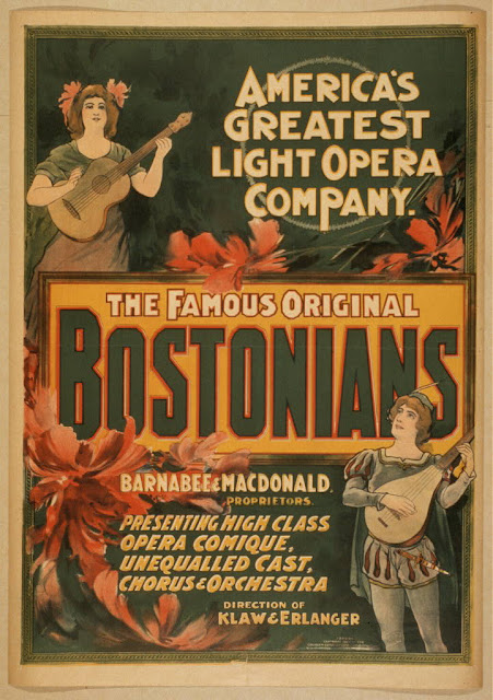advertising, art, classic posters, free download, graphic design, movies, retro prints, theater, vintage, vintage posters, America's Greatest Light Opera Company, The Famous Original Bostonians - Vintage Theater Poster