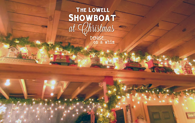 Toy train set on the Lowell Showboat at Christmas via http://deniseonawhim.blogspot.com