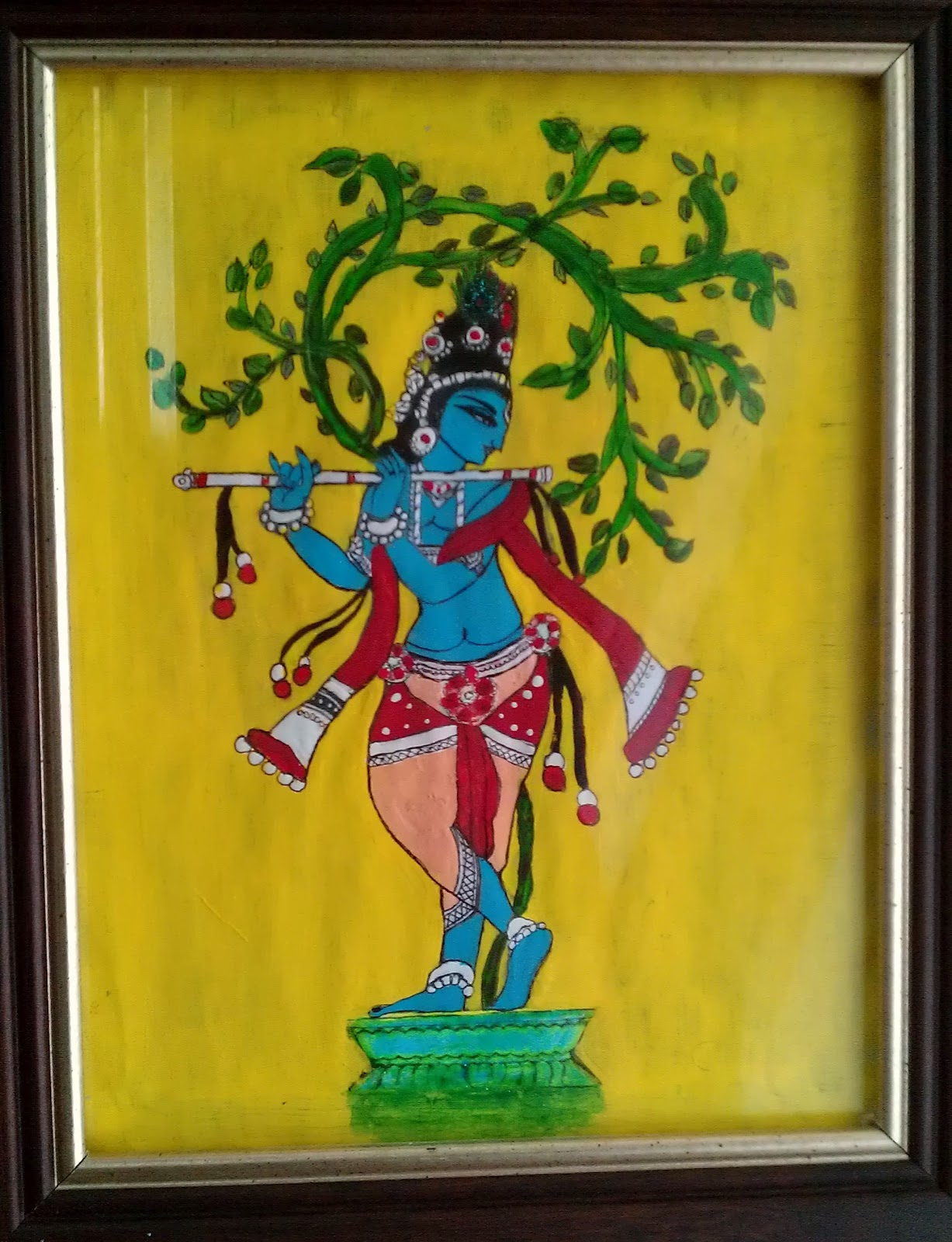 Krishna acrylic painting creative painting for Creative paintings pictures