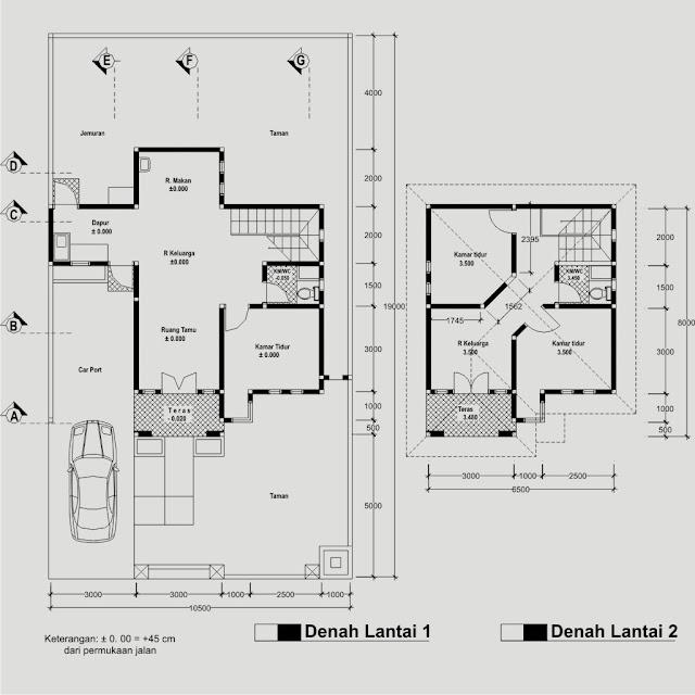Denah rumah 2 lantai