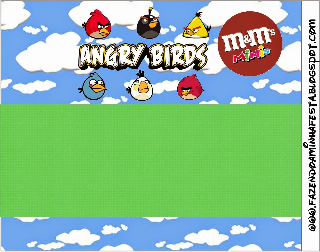 Etiquetas M&M de Angry birds con Nubes para imprimir gratis.