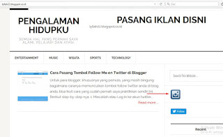 layout blog saya setelah ditambah IG button