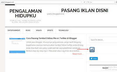 Pasang IG button di blogger