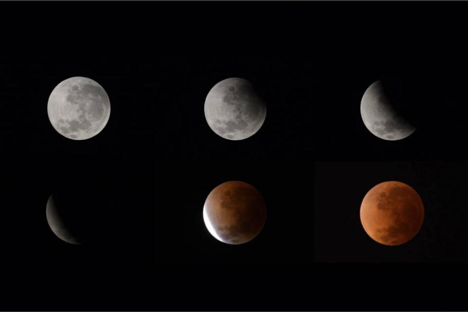 Gabungan enam foto yang menunjukkan fase gerhana bulan yang terpantau ...