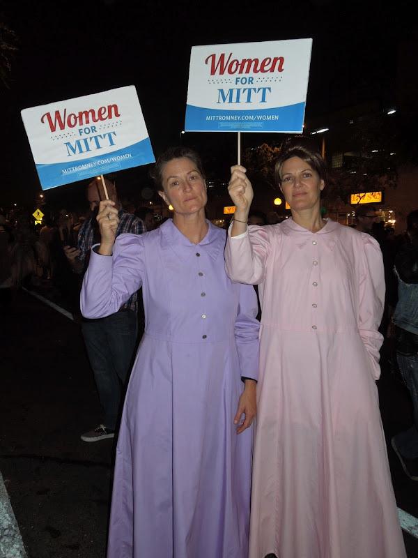Women for Mitt Mormon costumes WEHO Halloween Carnaval 2012