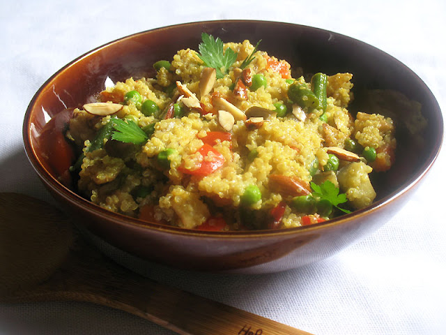 quinoa with almond and mixed vegetables