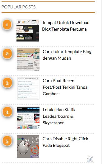 Widget Popular Posts dengan Paparan Rank