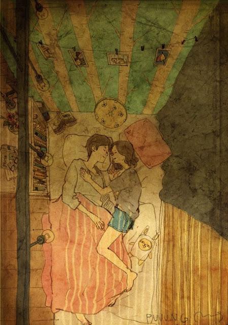 image dessin couple amoureux dans un lit artiste coréen puuug