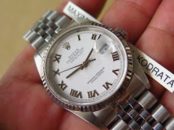 ROLEX OYSTER PERPETUAL DATE JUST WHITE ROMAN DIAL-ROLEX 16234 WHITE ROMAND DIAL-FULLSET BOX PAPERS