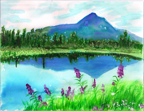 Mountain Scene, Watercolor