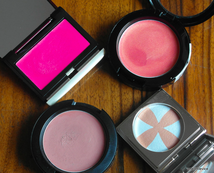 one little vice beauty blog: Kevin Aucoin Creamy Glow, Nyx Tickled, Mac Brit Wit, RMK Powder Blush 04