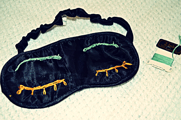 sleeping mask, diy tutorial, stephi lareine, teal, gold thread
