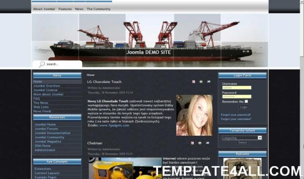 Blue Ship Business Black Joomla Template