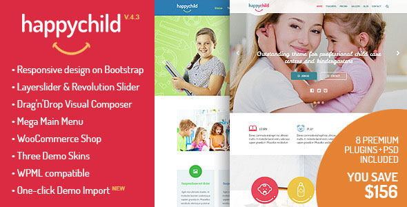 Free Download HappyChild V4.1 Kindergarten WordPress Theme