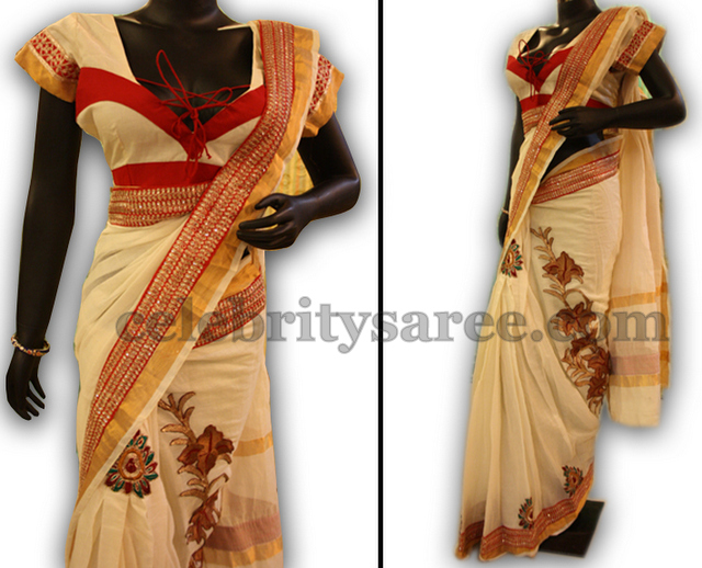 Stylish Handloom Kerala Saree