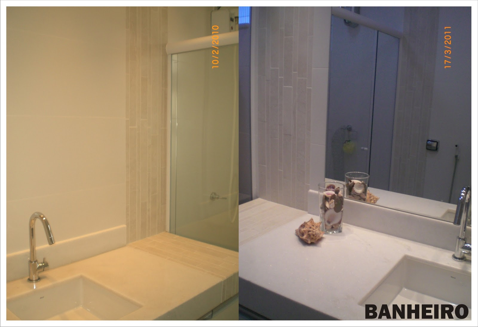 As paredes do banheiro foram revestidas em azulejos e um detalhe com  #8D6A3E 1600 1095