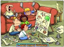 kids watching a cardboard televison