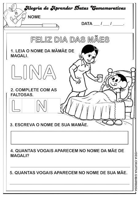 Atividade Dia das Mães Leitura e Escrita Turma da Mônica
