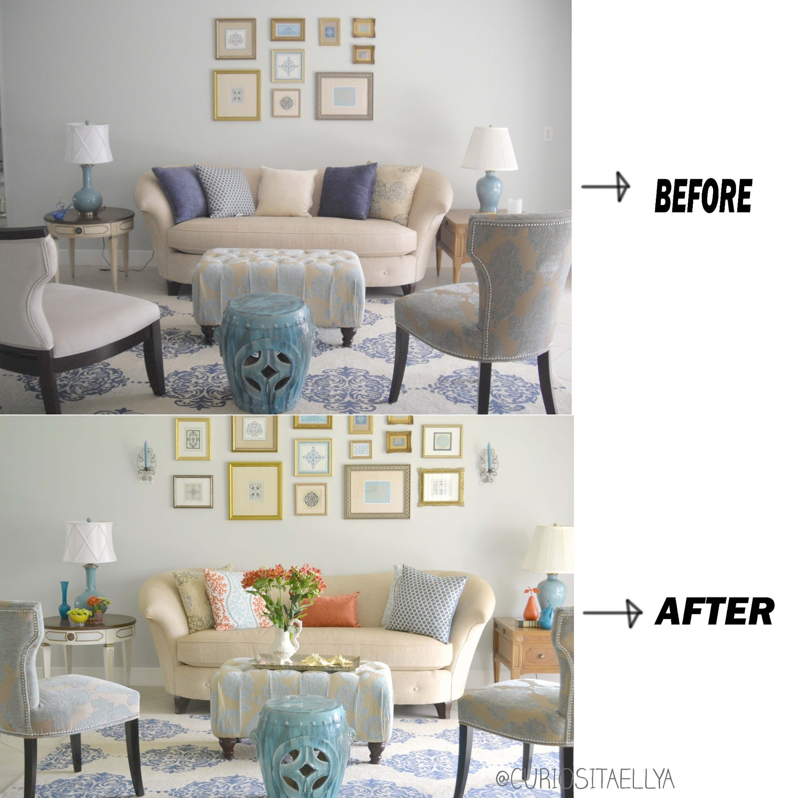 Curiositaellya: Soft Blue and Linen End Table Makeover