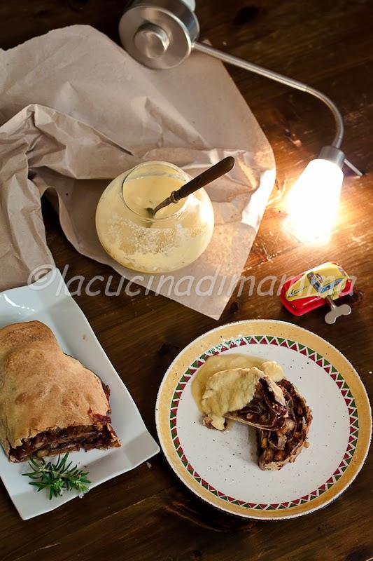 strudel chiama, molise risponde...strudel alla composta di castagne, cioccolato e arancia con crema inglese al rosmarino
