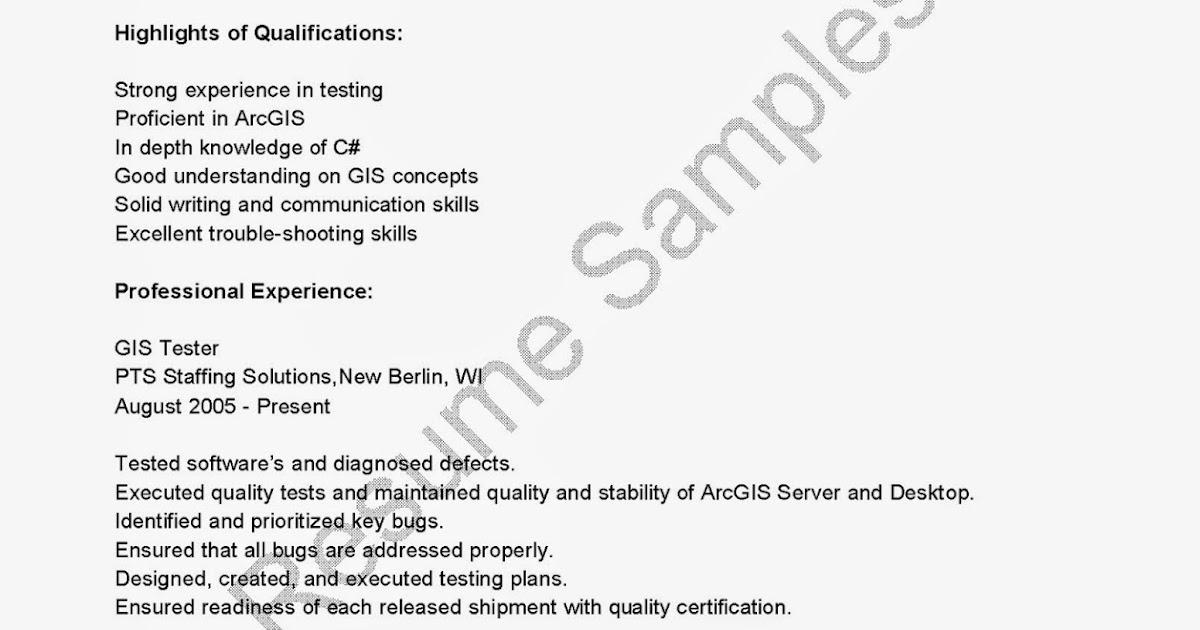 resume samples  gis tester resume sample