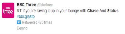 BBC Three Chase & Status tweet