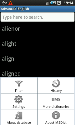 Dictionary For Android - Menu