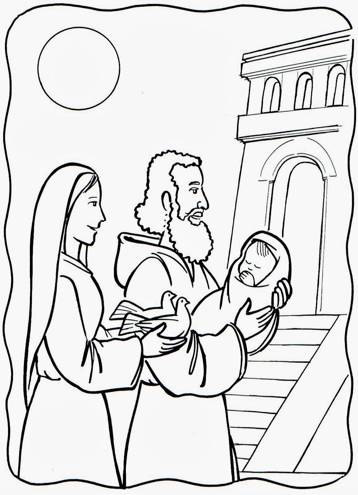 Dibujo de Presentacion de Jesus en el templo para colorear ...