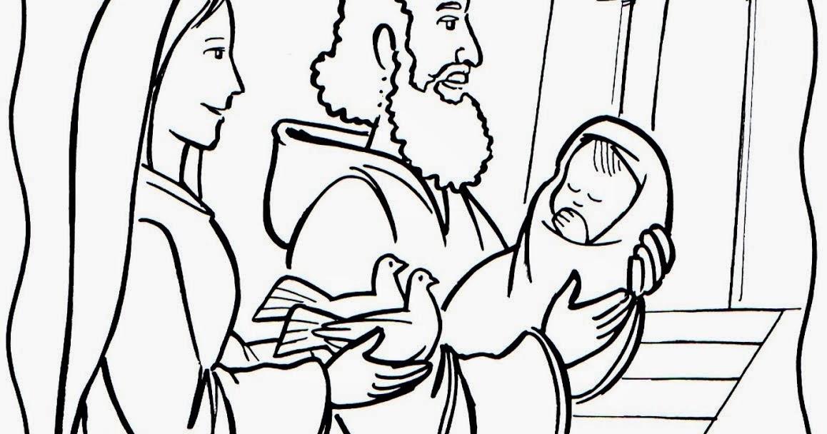 Imagenes Cristianas Para Colorear: Dibujo de Presentacion de Jesus ...