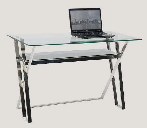 Muebles de forja mesa escritorio de aluminio inox y cristal for Mesa cristal ikea escritorio