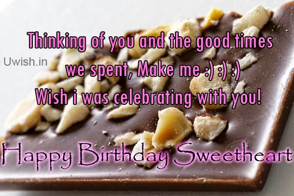 Happy birthday Sweetheart e greetings and wishes, with chocos thinking of you.