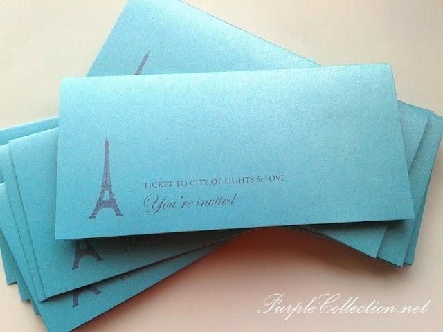 paris, eifel tower, pearl light blue card, boarding pass wedding card, malaysia, kuala lumpur, handmade