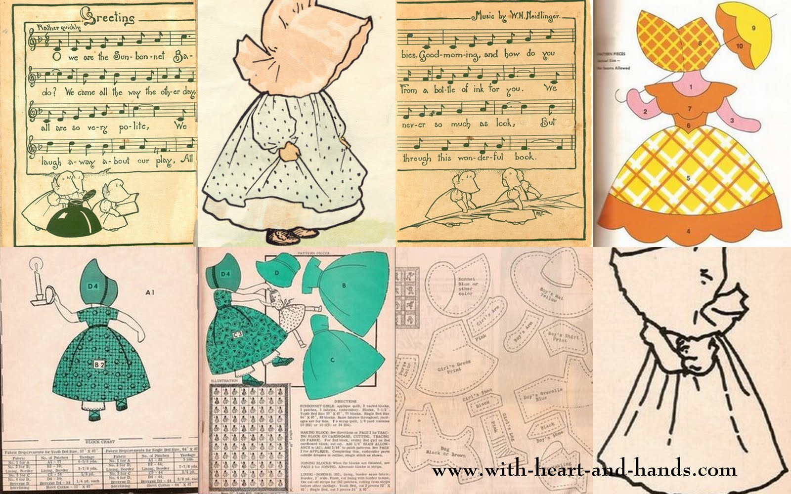 Free Quilt, Craft and Sewing Patterns: Links and Tutorials *With Heart and Hands*: Sunbonnet Sue ...