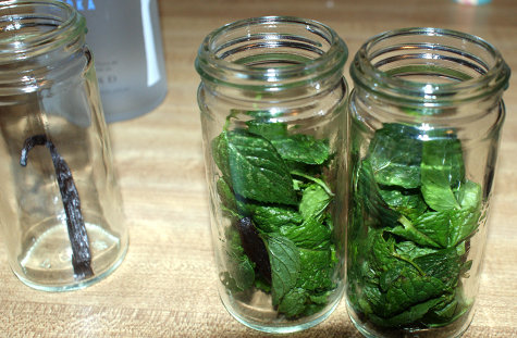 Fill jars with fresh chocolate mint and peppermint