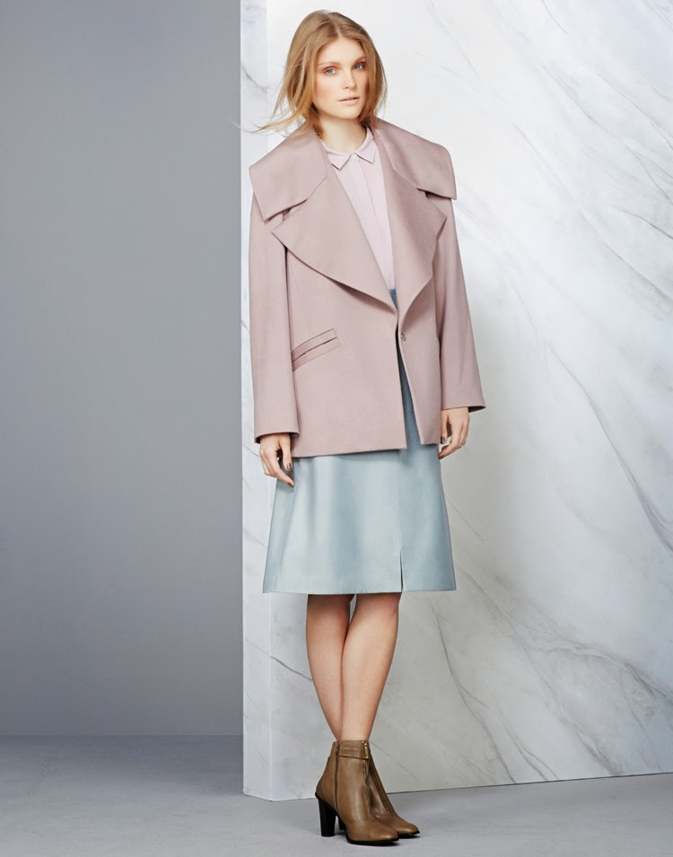 MARKS AND SPENCER AUTOGRAPH JACKET £129, AUTOGRAPH TOP £35, AUTOGRAPH SKIRT £199, SHOE £79