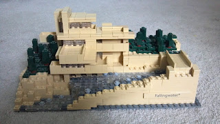 falling water house by frank lloyd wright made with legos