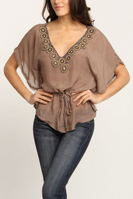 Beaded V Neck Tunic With Jeans