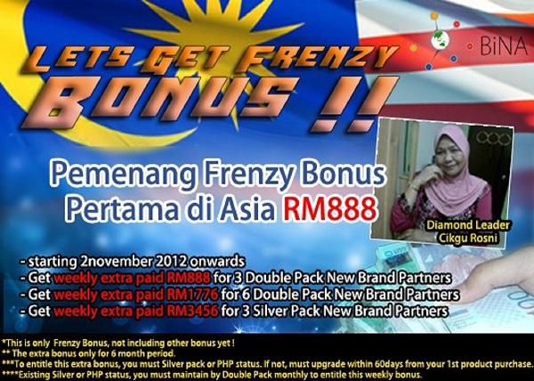Merupakan orang yang pertama di Asia mendapat Frenzy Bonus