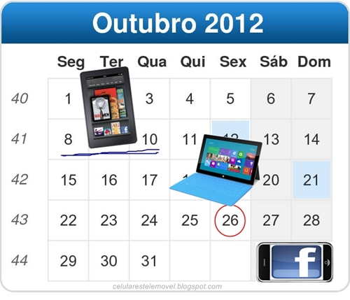 Outubro: Windows 8 RT e Microsoft Surface, Amazon Kindle e smartphone Facebook