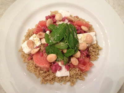 quinoa with pomegranate, feta, grapefruit and mint recipe