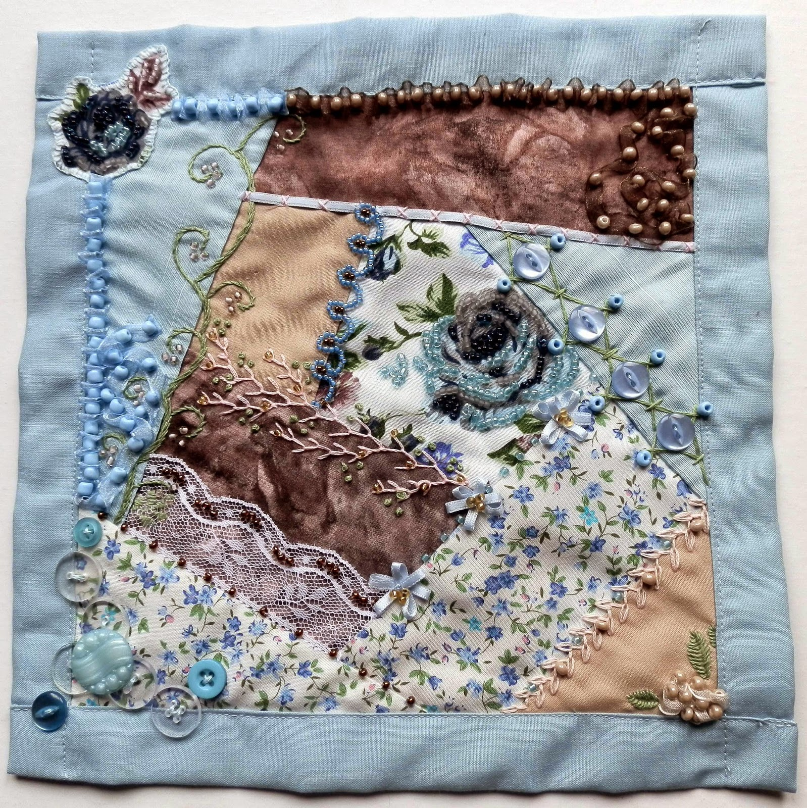 crazy quilting block featuring rose