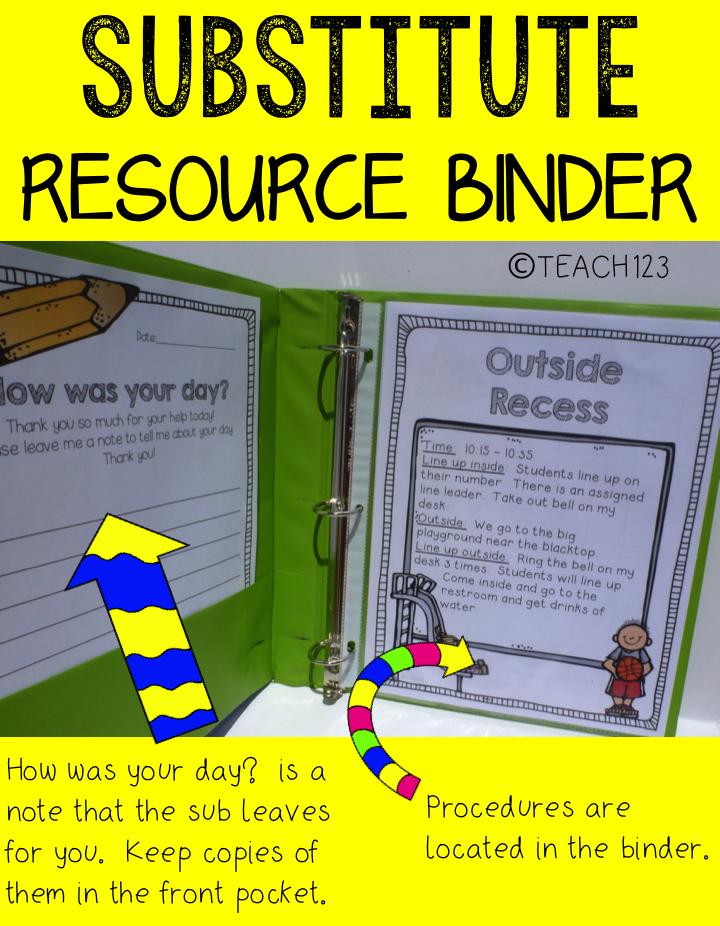 sub plans resource binder